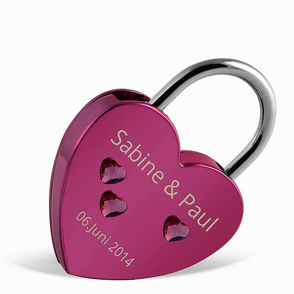Liebesschloss Herzform rosa mit Herz Kristallen von Swarovski ®