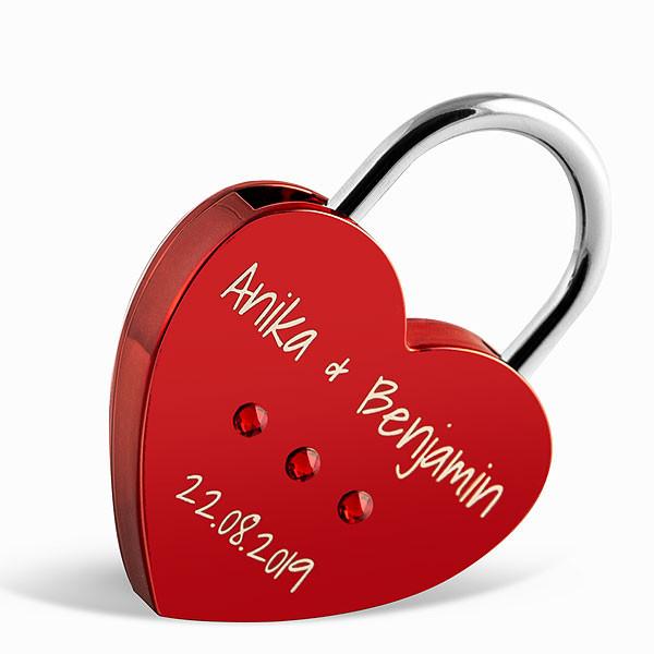 Liebesschloss Herzform rot mit runden Kristallen von Swarovski ®