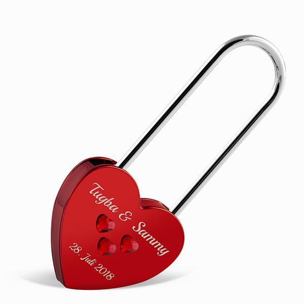 Großes Liebesschloss Herzform rot mit Herz Kristallen von Swarovski®