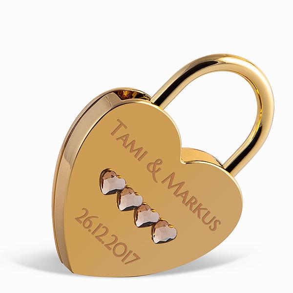 Liebesschloss Herzform gold mit Herz Kristallen von Swarovski ®