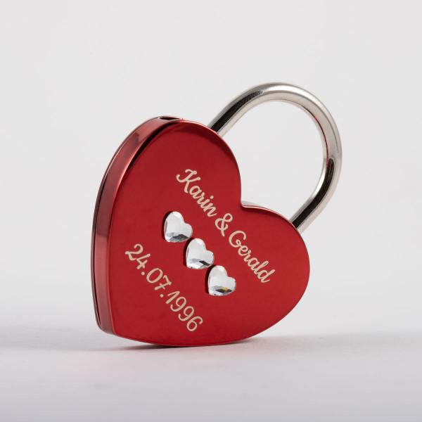 Liebesschloss Herzform rot mit Herz Kristallen von Swarovski ®